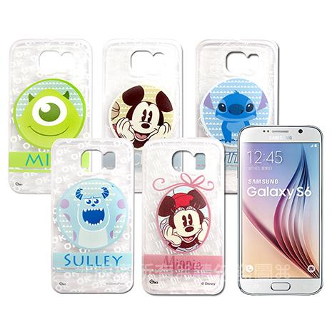 迪士尼授權正版 Samsung Galaxy S6 G9200 徽章系列透明彩繪軟式保護殼 手機殼徽章系列史迪奇