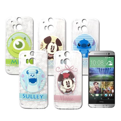 迪士尼授權正版 HTC One M8 徽章系列透明彩繪軟式保護殼 手機殼徽章系列史迪奇