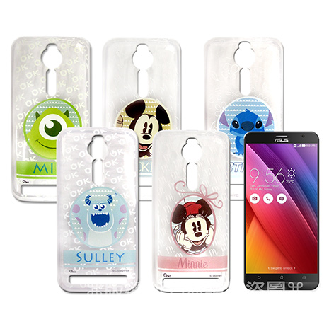 迪士尼授權正版 ASUS ZenFone 2 ZE550ML 5.5吋  徽章系列透明彩繪軟式保護殼 手機殼