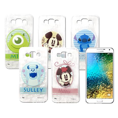 迪士尼授權正版 Samsung Galaxy E7 SM-E7000 徽章系列透明彩繪軟式保護殼 手機殼徽章系列史迪奇