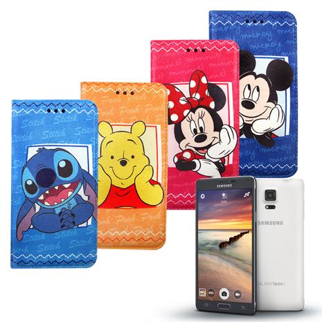 迪士尼Disney 授權正版 三星 SAMSUNG Galaxy Note4 N910 手帳式磁力支架皮套史迪奇