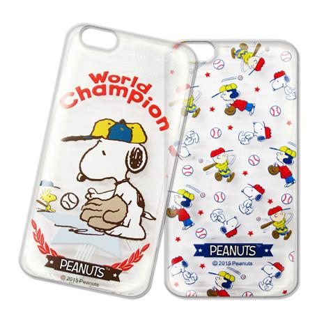 史努比 iPhone 6s+/6 plus 5.5吋 i6+ 棒球大聯盟 透明軟式保護套 手機殼