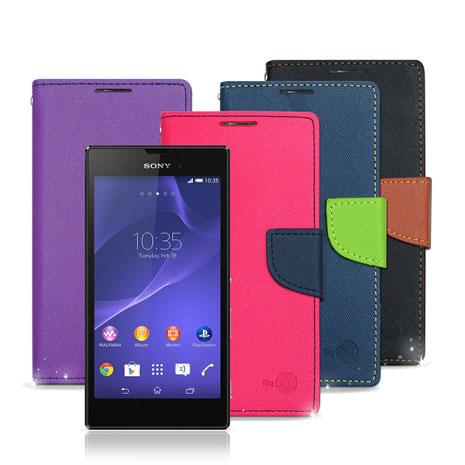 【MYstyle】Sony Xperia T3 D5103 雙色糖果 斜紋支架側翻皮套 保護套