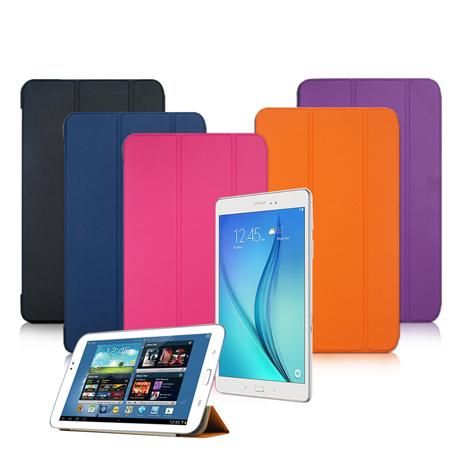 【VXTRA】SAMSUNG Galaxy Tab S2 9.7 T810 T815 經典皮紋超薄三折保護套格蕾紫