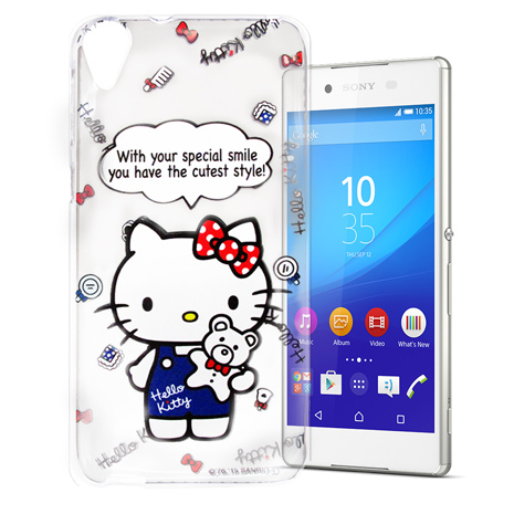Hello Kitty Sony Xperia Z3+ E6553 透明軟式手機殼(Kitty公仔)