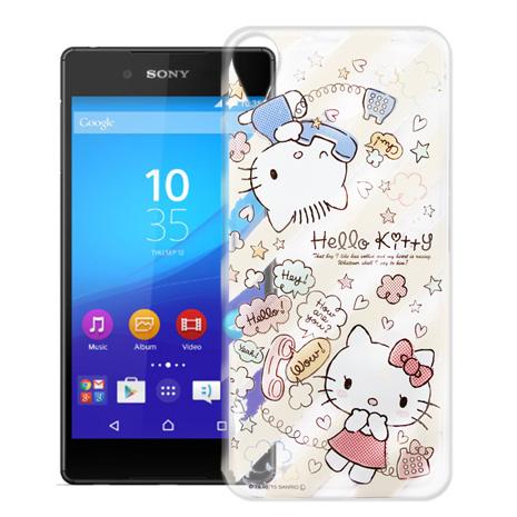 Hello Kitty Sony Xperia Z3+ E6553 透明軟式手機殼(熱線Kitty)
