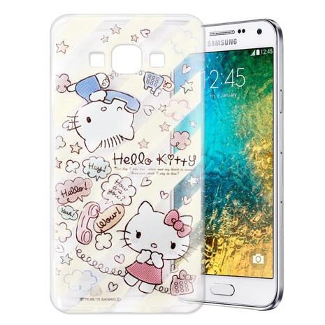 Hello Kitty 三星 SAMSUNG Galaxy E7 透明軟式手機殼(熱線Kitty)