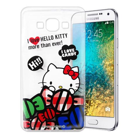 Hello Kitty 三星 SAMSUNG Galaxy E7 透明軟式手機殼(糖果HI)