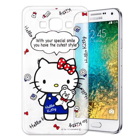 Hello Kitty 三星 SAMSUNG Galaxy E7 透明軟式手機殼(Kitty公仔)