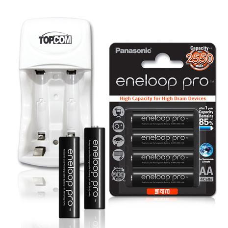 Panasonic ★eneloop PRO 黑鑽款低自放3號2550mAh 充電電池(4顆入)+TOP智能雙迴充電器