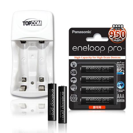 Panasonic ★eneloop PRO 黑鑽款低自放4號950mAh 充電電池(4顆入)+TOP智能雙迴充電器