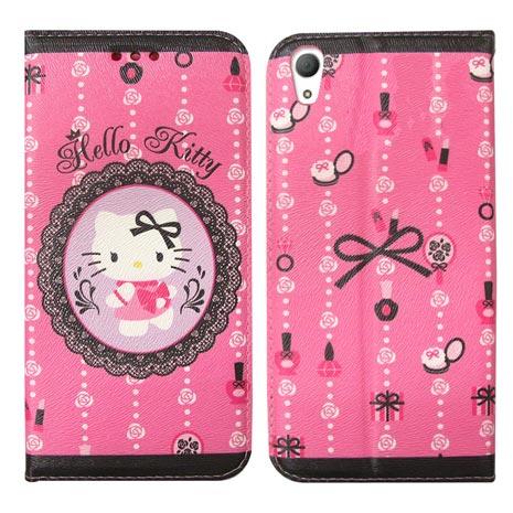 Hello Kitty Sony Xperia Z3+ E6553 彩繪磁力書本皮套(法式蕾絲)