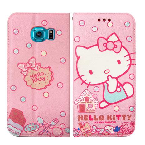 Hello Kitty 三星 Samsung Galaxy S6 Edge 彩繪磁力書本皮套(甜點Sweet)-手機平板配件-myfone購物