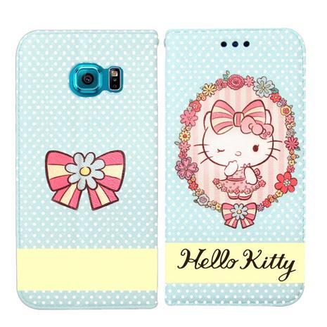 Hello Kitty 三星 Samsung Galaxy S6 Edge 彩繪磁力書本皮套(水玉花邊)-手機平板配件-myfone購物