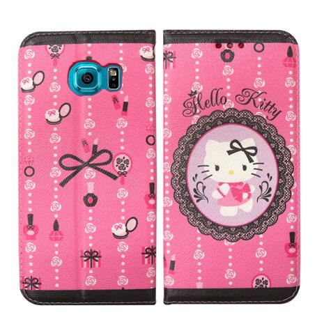 Hello Kitty 三星 Samsung Galaxy S6 Edge 彩繪磁力書本皮套(法式蕾絲)-手機平板配件-myfone購物