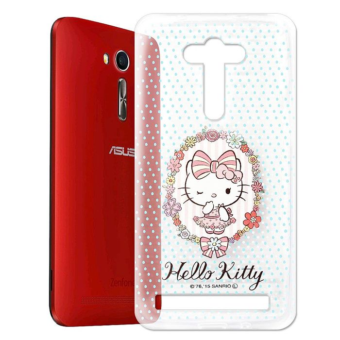 Hello Kitty ASUS Zenfone2 Laser 5.5吋 透明軟式手機殼(花邊Kitty)