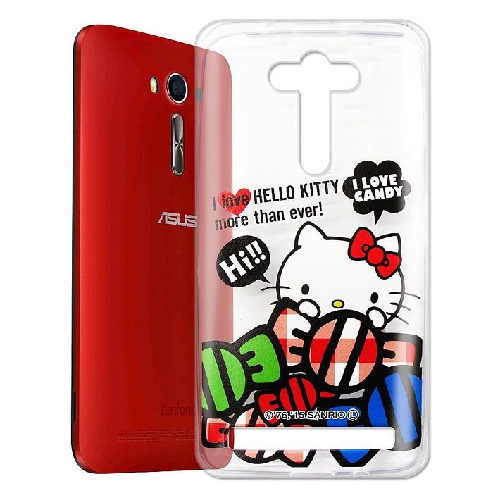 Hello Kitty ASUS Zenfone2 Laser 5吋 透明軟式手機殼(糖果HI)