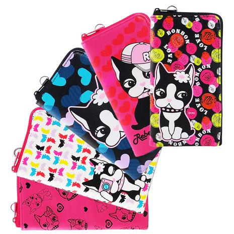 Rebecca Bonbon 法國鬥牛犬 經典狗頭款 拉鏈手拿包 萬用手機收納袋 附吊繩(5.4吋)-手機平板配件-myfone購物
