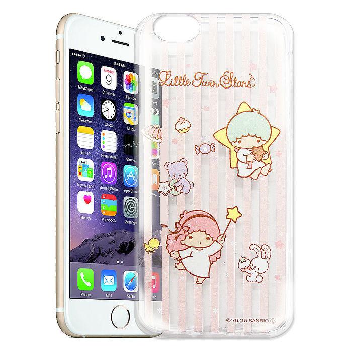 雙子星仙子KiKiLaLa iPhone 6s/6 4.7吋 透明軟式保護套 手機殼(粉紅條紋)