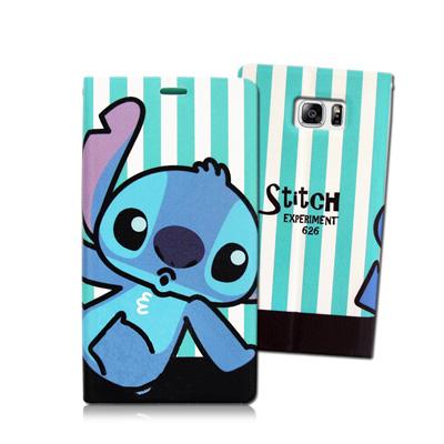 迪士尼授權正版Samsung Galaxy Note5 N9208 潮流條紋磁力皮套(嘟嘴史迪奇)
