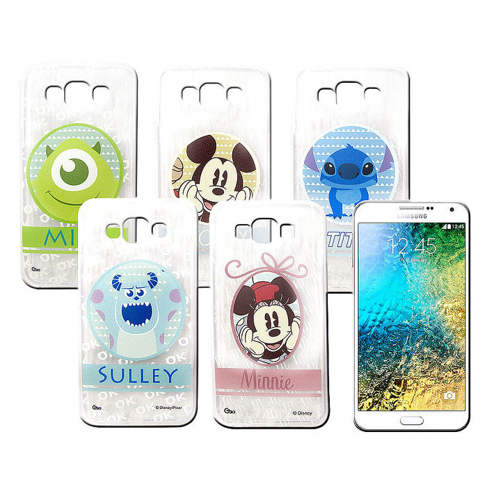 迪士尼授權正版 三星 Samsung Galaxy E5 徽章系列透明彩繪軟式保護殼 手機殼史迪奇
