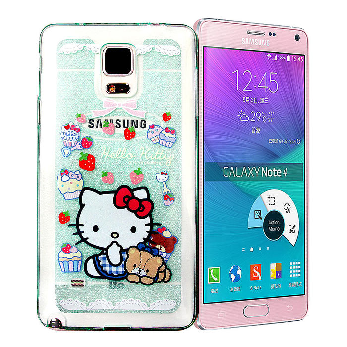 三麗鷗授權正版 Hello Kitty 凱蒂貓 SAMSUNG Galaxy Note 4 彩繪閃粉軟式手機殼(Kitty&Bear)