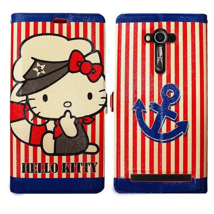 Hello Kitty 華碩 ASUS ZenFone 2 Laser 5.5吋 ZE550KL 彩繪磁力書本皮套(水手船長)-手機平板配件-myfone購物