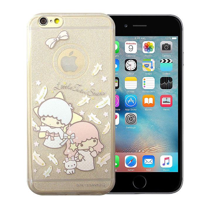 三麗鷗授權正版 雙子星仙子KiKiLaLa iPhone 6s/6 4.7吋 透明彩繪閃粉軟式手機殼(羽毛)
