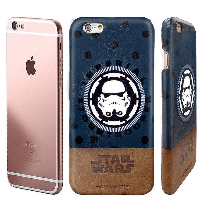 電影授權正版~STAR WARS星際大戰 iPhone 6/6s plus 5.5吋 雙料皮革手機殼(白兵頭盔)