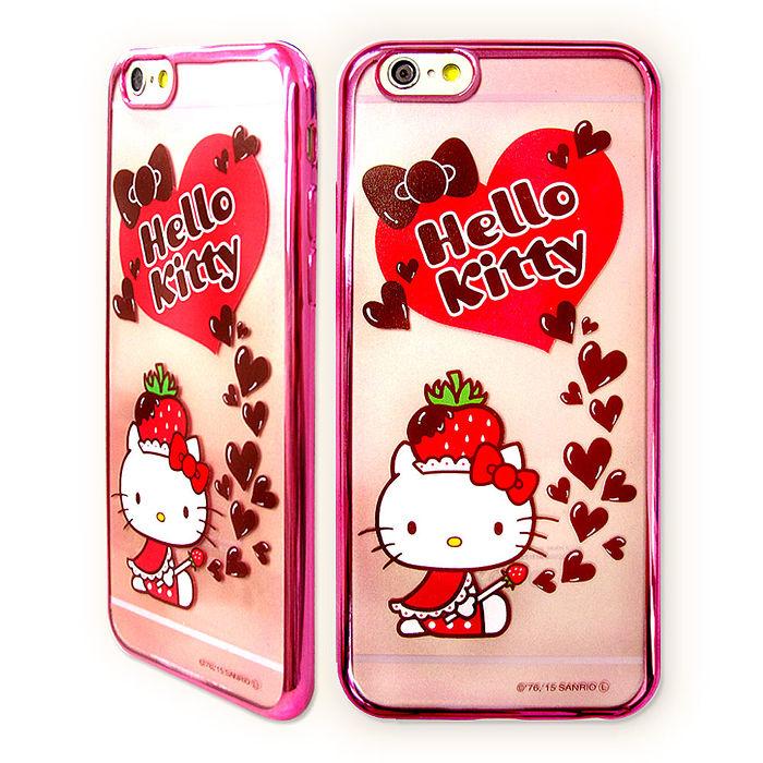 三麗鷗授權正版 Hello Kitty貓 iPhone6/6s 4.7吋 超透光電鍍彩繪軟式手機殼(草莓帽)