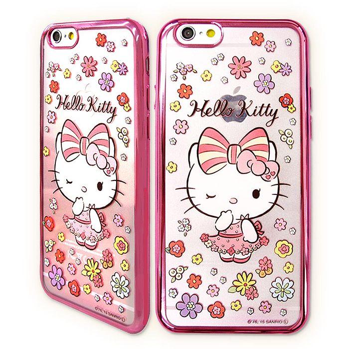 三麗鷗授權正版 Hello Kitty貓 iPhone6/6s plus 5.5吋 超透光電鍍彩繪軟式手機殼(花邊)