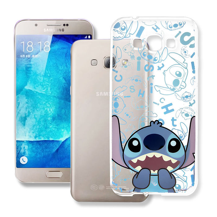 迪士尼授權正版 Samsung Galaxy A8 大頭背景系列透明軟式手機殼(摀嘴史迪奇)