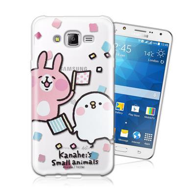 卡娜赫拉 Samsung Galaxy J7 SM-J700 透明彩繪手機殼(揮旗子) Line貼圖 官方授權