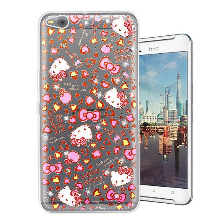 三麗鷗授權正版 Hello Kitty HTC One X9 水鑽系列透明軟式手機殼(豹紋凱蒂)