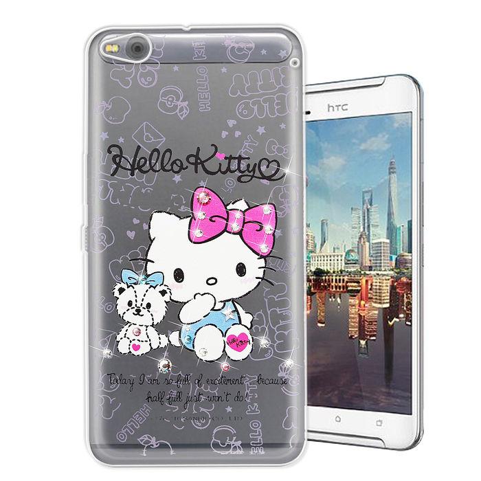 三麗鷗授權正版 Hello Kitty HTC One X9 水鑽系列透明軟式手機殼(小熊凱蒂)