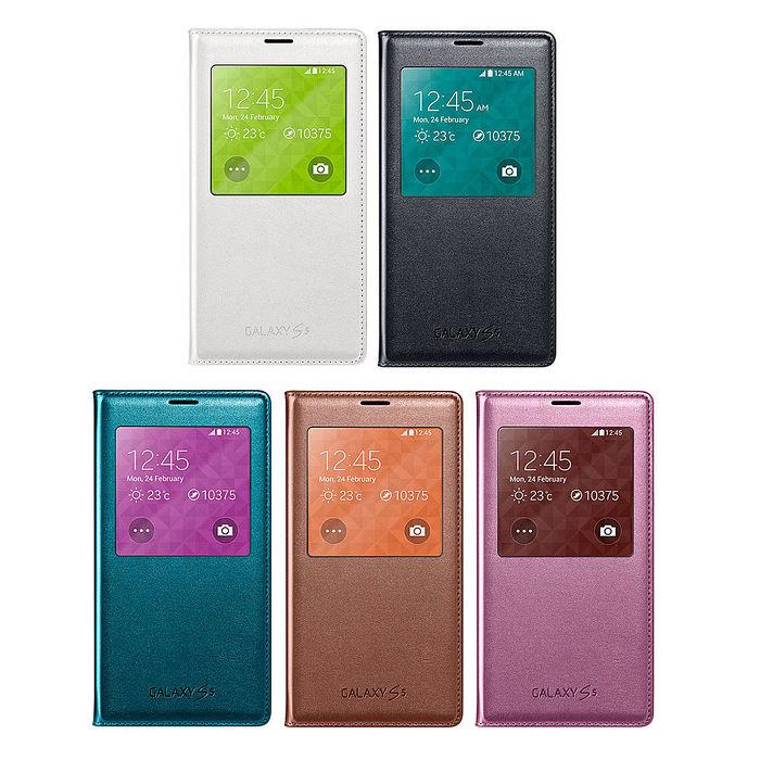 三星原廠 SAMSUNG Galaxy S5 G900 智能視窗感應觸控皮套(5色)玫紫粉
