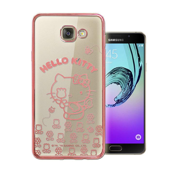 三麗鷗授權正版 Hello Kitty Samsung Galaxy A7 (2016) 雷雕電鍍透明軟式手機殼(花香粉)