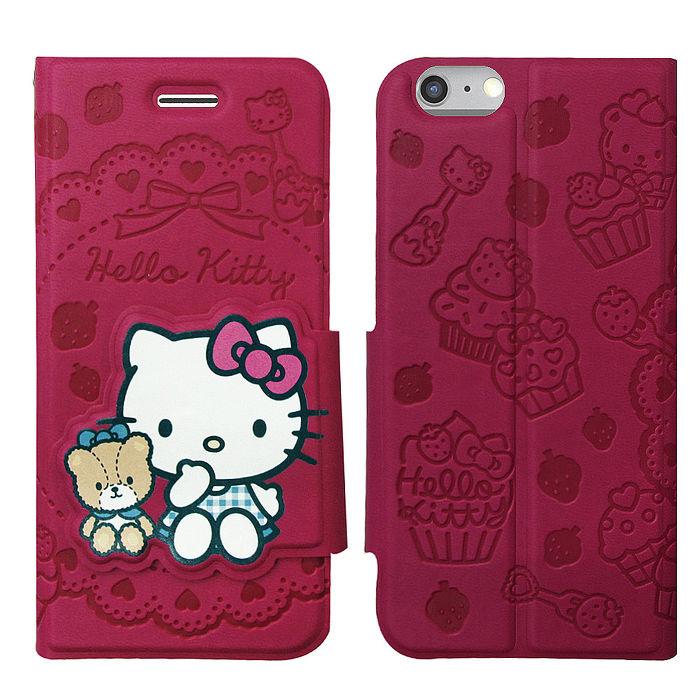 三麗鷗授權 Hello Kitty 凱蒂貓 iPhone 6/6s PLUS 5.5吋 立體造型磁扣皮套(杯子蛋糕)