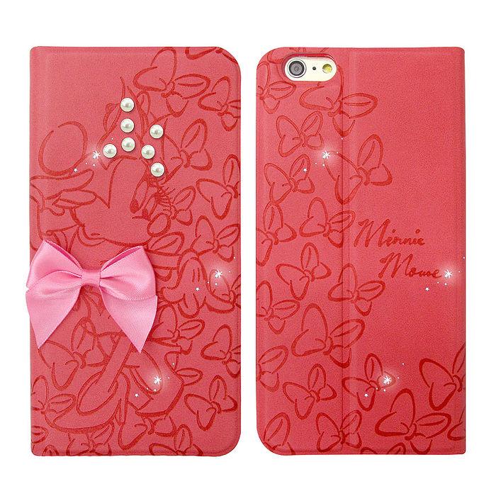 迪士尼授權 米奇米妮 iPhone 6/6s plus 5.5吋 珍珠水晶浮雕皮套(米妮)