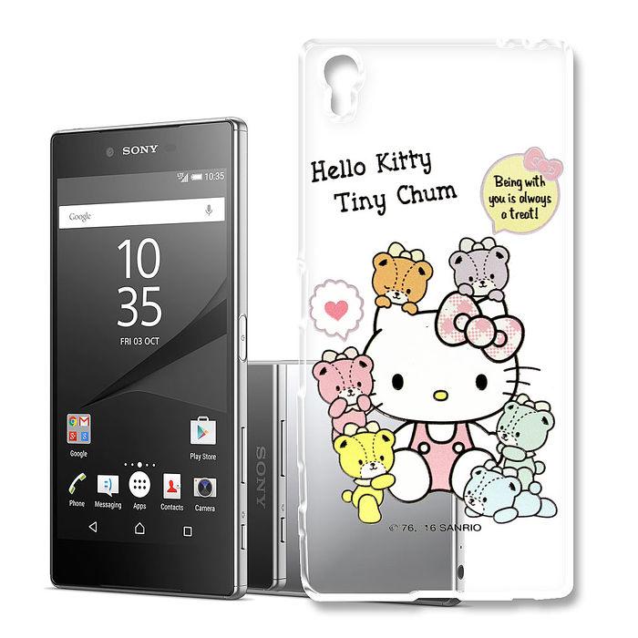 三麗鷗授權 Hello Kitty 凱蒂貓 SONY Xperia Z5 Premium 5.5吋 浮雕彩繪透明手機殼(熊好朋友)