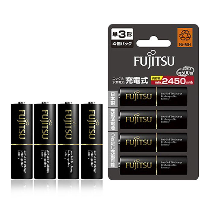 【日本製】Fujitsu富士通 低自放電3號 2450mAh鎳氫充電電池 HR-3UTHC (3號4入)
