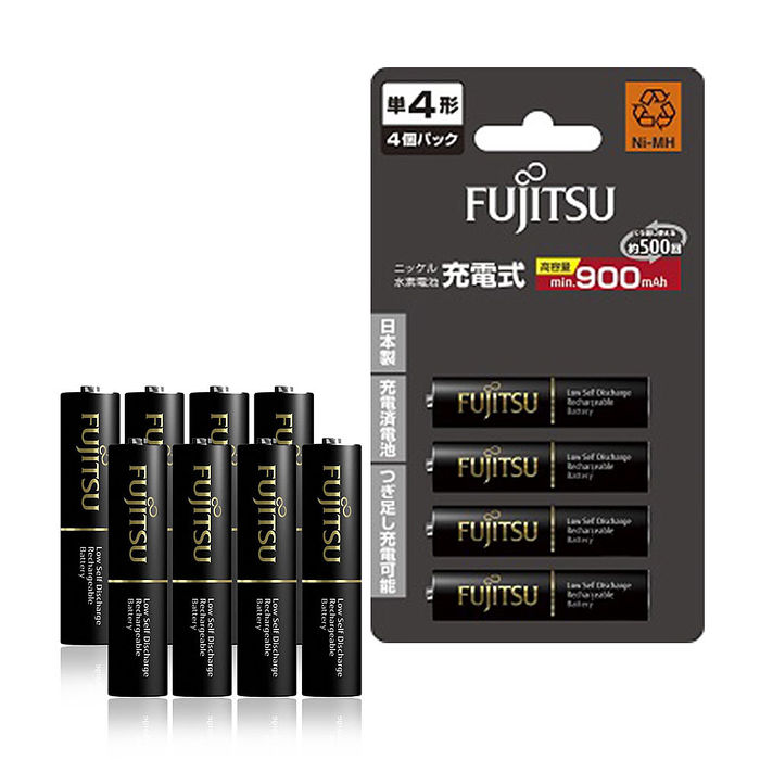【日本製】Fujitsu富士通 低自放電4號 900mAh鎳氫充電電池 HR-4UTHC (4號12入)