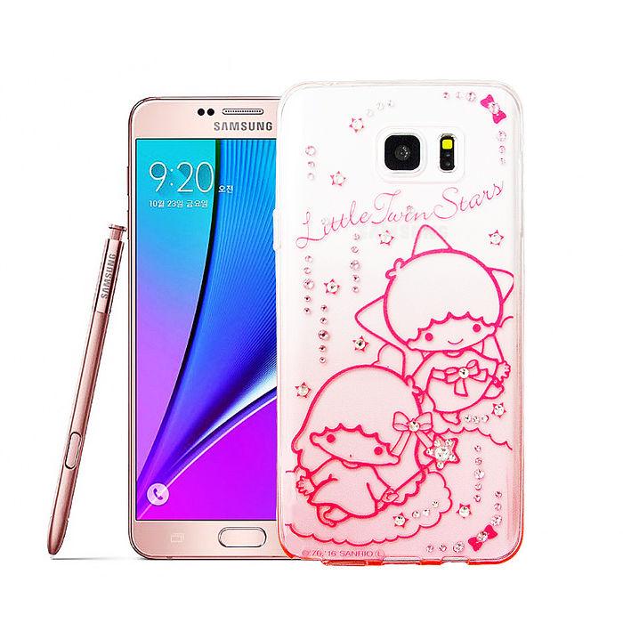 三麗鷗授權正版KiKiLaLa雙子星三星Samsung Galaxy Note5水鑽透明保護殼(軟綿綿)