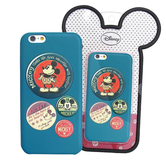 迪士尼授權正版 iPhone 6/6s 4.7吋  立體彩繪浮雕皮革手機殼(米奇徽章)-手機平板配件-myfone購物