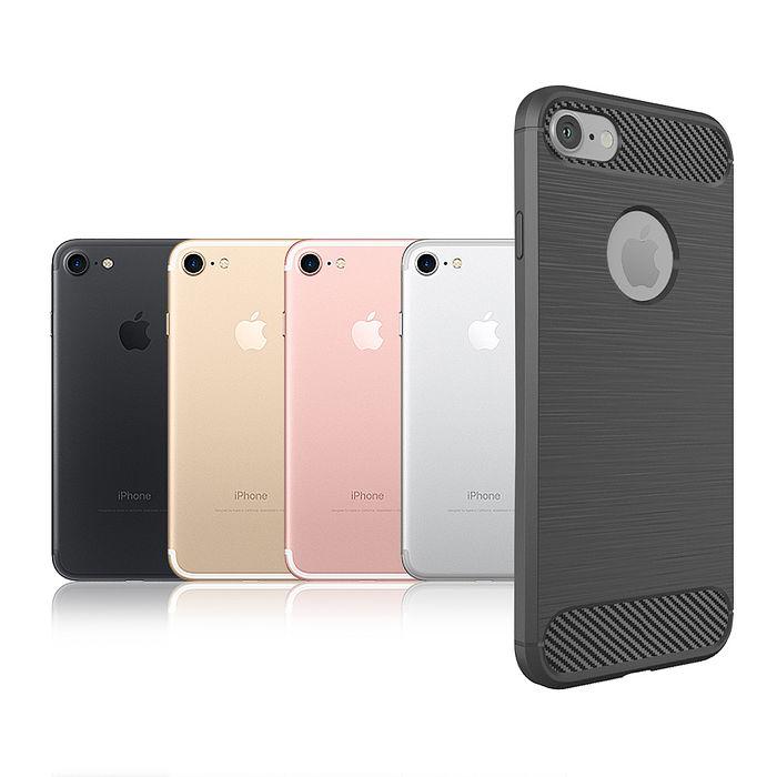 VXTRA iPhone 7 4.7吋 i7 防震時尚拉絲紋軟性手機殼 墨色灰-手機平板配件-myfone購物