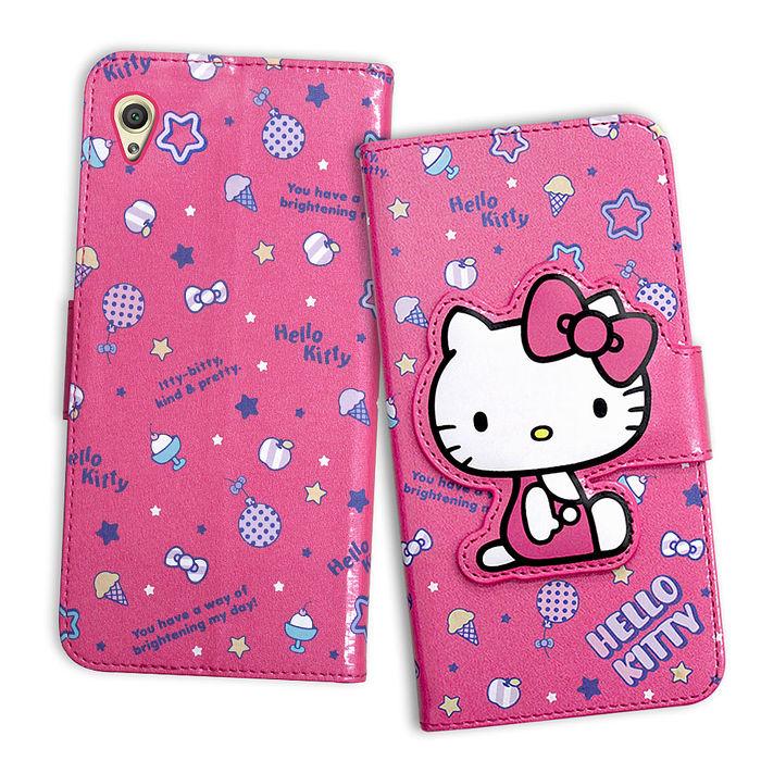 三麗鷗授權 Hello Kitty 凱蒂貓 SONY Xperia Z5 Premium 5.5吋 閃粉絲紋彩繪皮套(甜點桃)-手機平板配件-myfone購物
