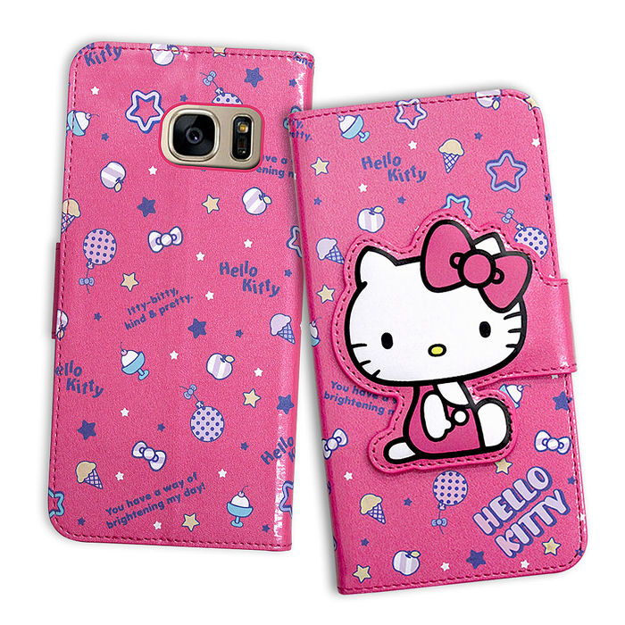 三麗鷗授權 Hello Kitty 凱蒂貓 三星 Samsung Galaxy S7 edge 閃粉絲紋彩繪皮套(甜點桃)