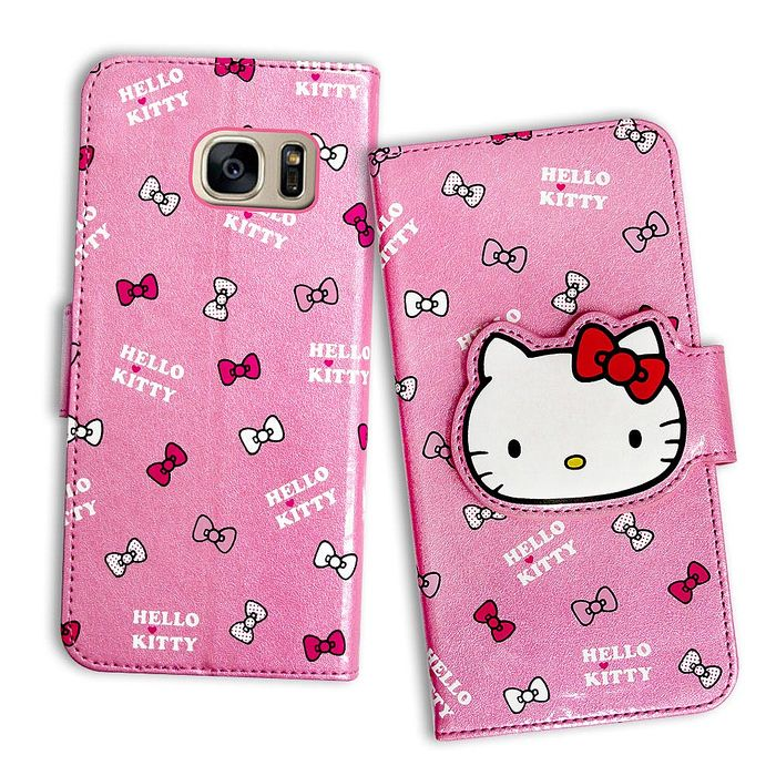 三麗鷗授權 Hello Kitty 凱蒂貓 Samsung Galaxy S7 edge 閃粉絲紋彩繪皮套(蝴蝶結粉)
