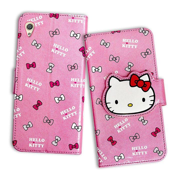 三麗鷗授權 Hello Kitty 凱蒂貓 SONY Xperia Z5 5.2吋 閃粉絲紋彩繪皮套(蝴蝶結粉)