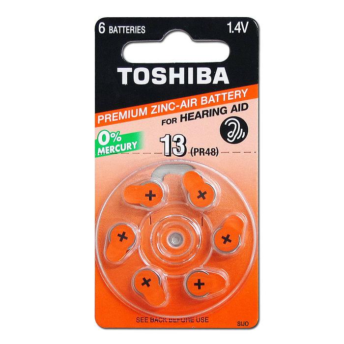 TOSHIBA 東芝 PR48/S13/A13/13 空氣助聽器電池(1卡6入)一次性鈕扣電池
